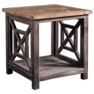 """22"""" Carter Rustic Black & Gray Criss Cross Patterned Reclaimed Wood End Table"""