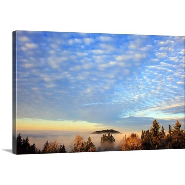"""sunrise through morning fog"" Canvas Wall Art"