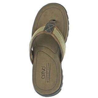 Crevo Latte Men's Leather Flip Flop Sandals