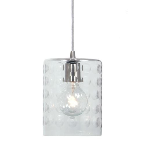 """JVI Designs 1300-15-G10 Grand Central 1 Light 8.5"""" Tall Pendant with Hammered Column Mouth-Blown Glass Shade"""