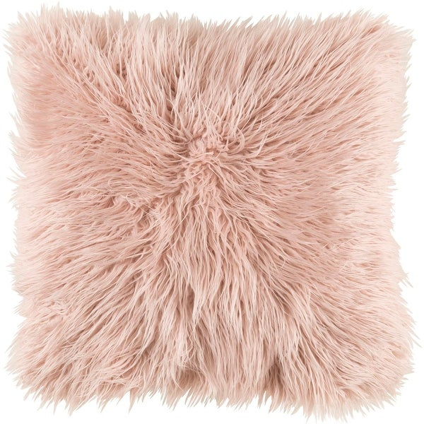 """22"""" Brown Faux Fur Designed Square Throw Pillow with Knife Edge - Down Filler"""