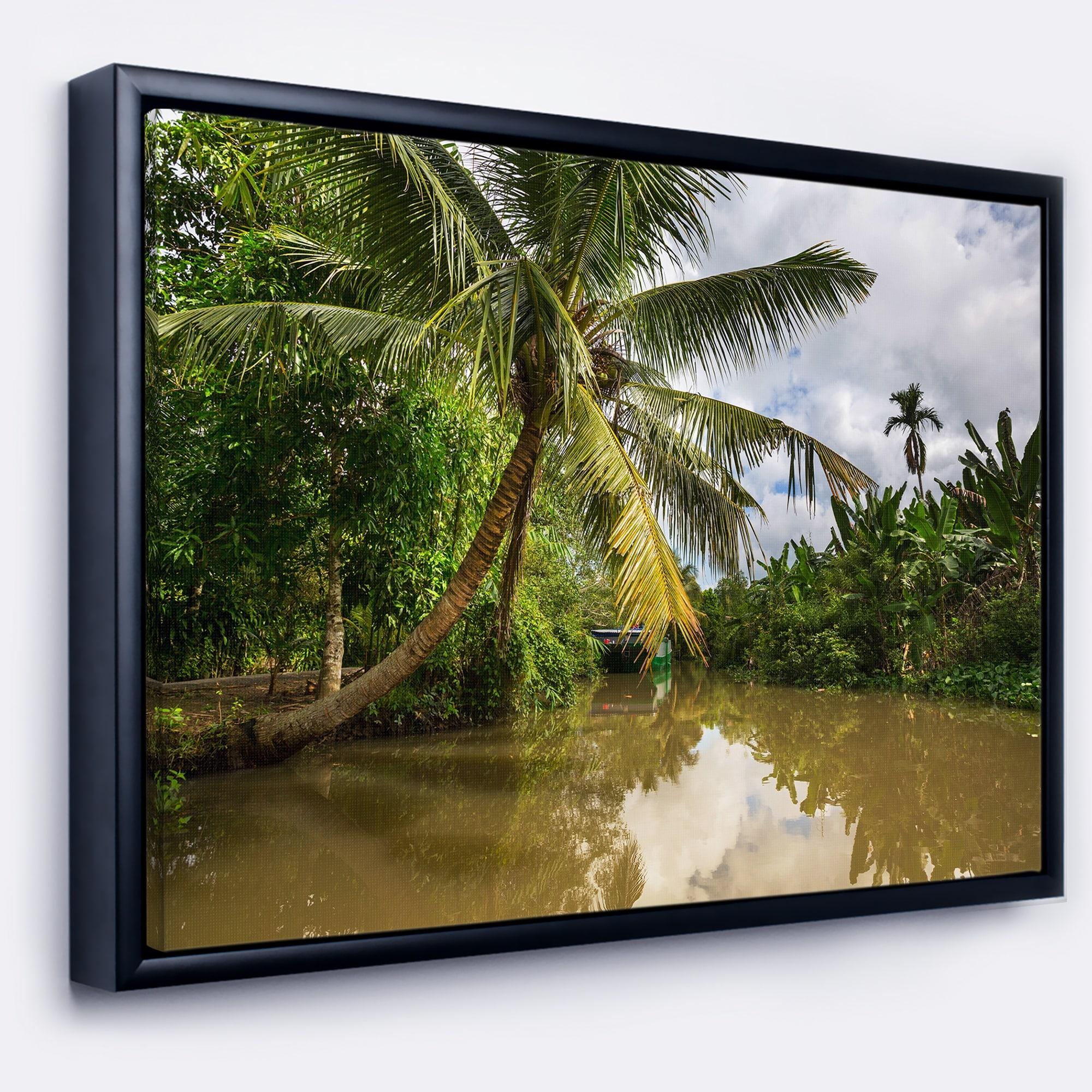 Designart Tropical River With Bent Coconut Palm Oversized Landscape Framed Canvas Art Overstock 18959101