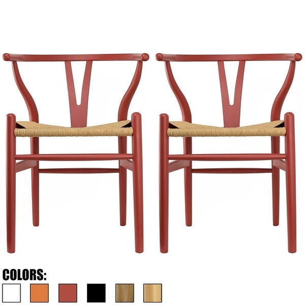 Leahlyn Reddish Brown Arm Chair Set Of 2: Set Of 2 Red Modern Wood Dining Chair With