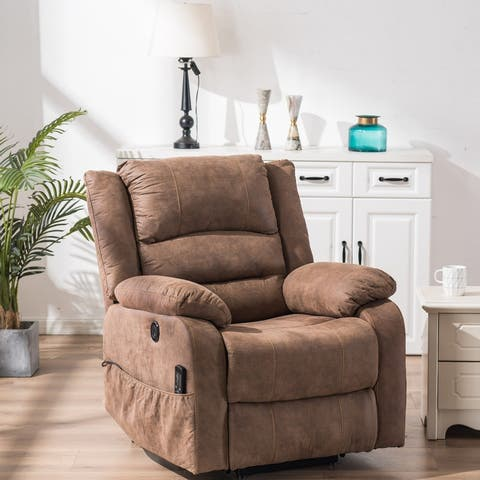 Electric Lift Function PU Leather Accent Chair Massage Sofa Brown