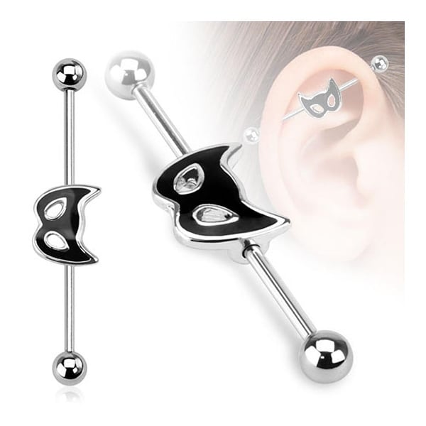 Cat Mask Industrial Barbell 316L Surgical Steel (Sold Ind.)