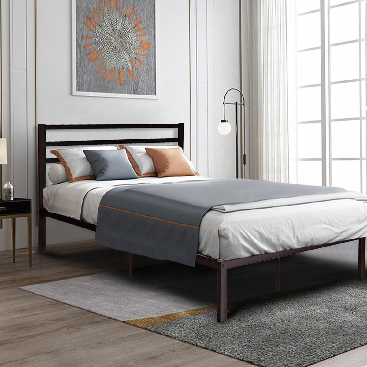 Metal Platform Bed Frame Wooden Slat Support Mattress Foundation Queen Dorm Twin Beds Bed Frames Bedding