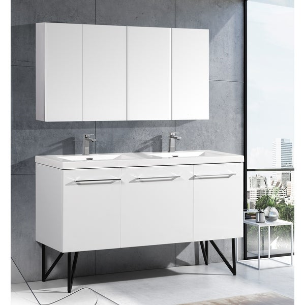 """Swiss Madison Annecy 60"""" Double, Two Doors, One Drawer, Bathroom Vanity. Opens flyout."""