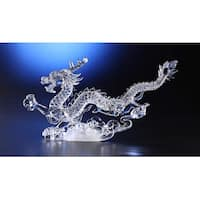 "Pack of 2 Icy Crystal Illuminated Decorative Dragon Figurines 10"" - Clear"