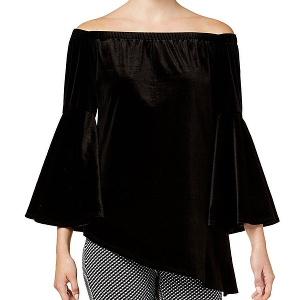 NY Collection Black Women's Small S Velvet Asymmetric Dress Top