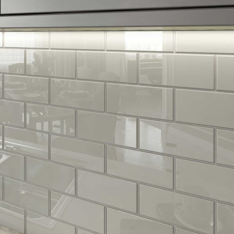 Light Gray 3x6 Glass Subway Tiles