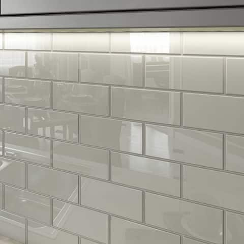 Light Gray 3x6 Glass Subway Tiles