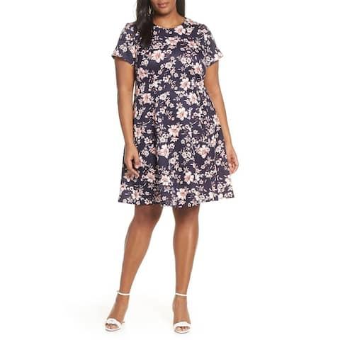 c866a544cd3 Vince Camuto Blue Womens Size 16W Plus Floral Scuba A-Line Dress