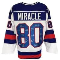 1980 Team USA Miracle On Ice Team Signed Custom Jersey w/ 15 Signatures JSA ITP
