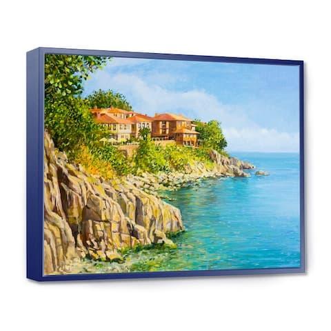 Designart 'Blue Summer Sea' Landscape Framed Canvas Art Print