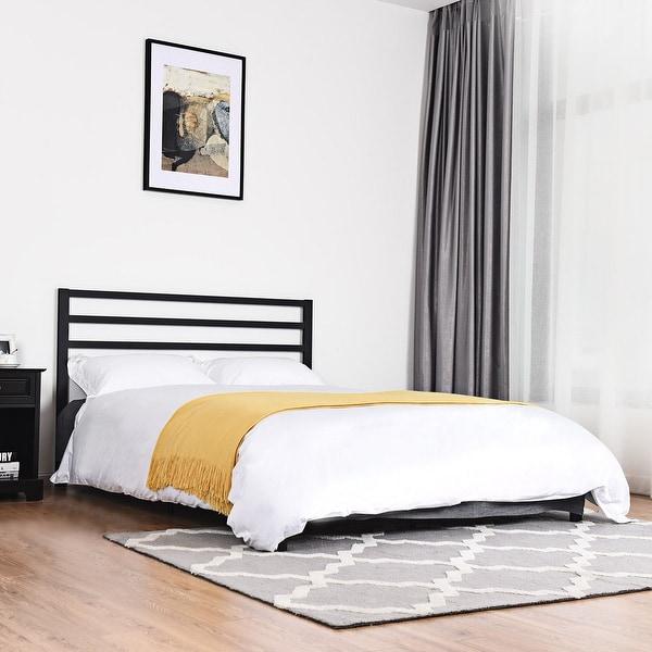Costway Queen Size Steel Bed Frame Platform Wooden Slat Support With Headboard Black