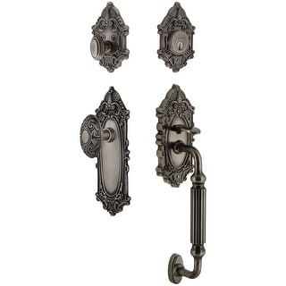 """Grandeur GVCGVC_ESET_234_FG  Grande Victorian Solid Brass Rose Keyed Entry Single Cylinder Sectional """"F"""" Grip Handleset with"""