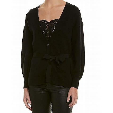 Joie Women's Black Size Medium M Belted Button Down Cardigan Sweater