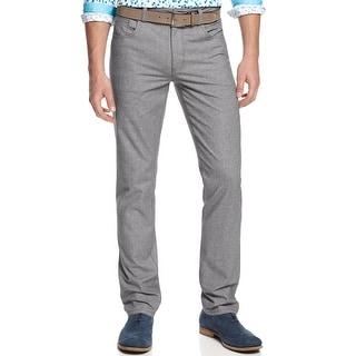 Bar III Slim Fit Marled Flat Front Casual Pants Winter Grey 32 x 32