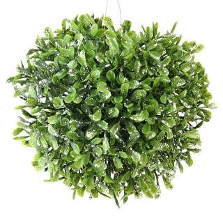 "5"" Sprout Green and Sparkling Silver Glitter Artificial Leafy Garden Grass Ball - Unlit"