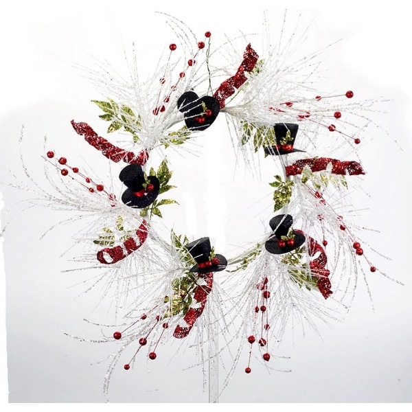 """Pack of 2 White Glittered Wire Artificial Christmas Wreaths with Snowman Top Hats 27"""""""