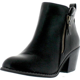Reneeze Polo-01 Women's Zipper Stacked Chunky Heels Strappy Ankle Booties