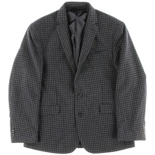 Kenneth Cole New York Mens Wool Checkered Two-Button Blazer - 42S