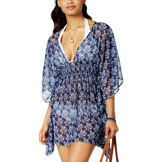 Jessica Simpson Womens Tunic Open Back Dress Swim Cover-Up