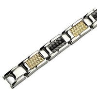 Chisel Stainless Steel 14k Gold & Black Cable 8.5 Inch Bracelet