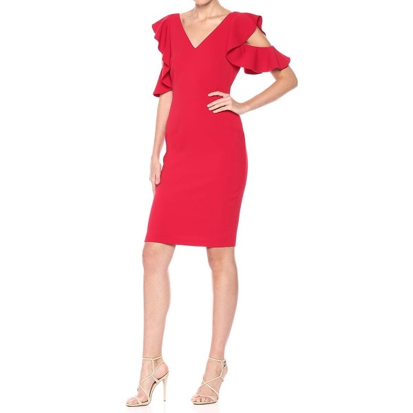 Shop Laundry by Shelli Segal Red Women 14 Ruffle Cold-Shoulder Dress - Free  Shipping Today - Overstock.com - 21673985 f0b6ce1629