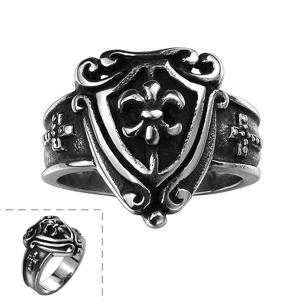 Vienna Jewelry Medium Shield Emblem Stainless Steel Ring