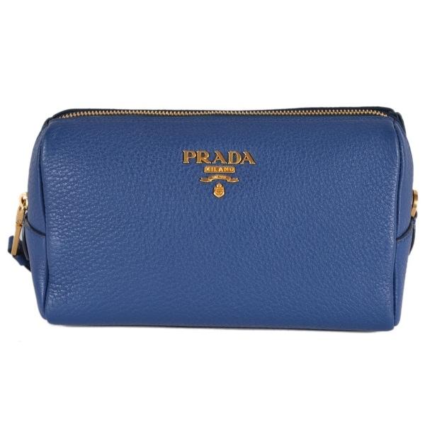 e2ce74ddfc8f Prada Women's 1ND004 Blue Textured Grain Leather Metal Logo Cosmetic  Bag