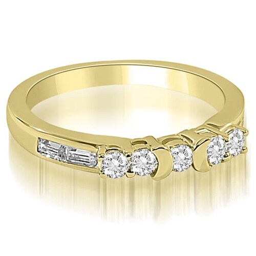 0.60 cttw. 14K Yellow Gold Round and Baguette Diamond Wedding Band