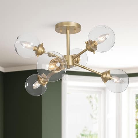 "Mid-century Modern Gold 6-light Sputnik Glass Semi-flush Mount Lights - D25""x H13"""