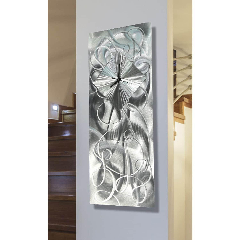 "Thumbnail 1, Statements2000 Silver Metal Wall Clock Art Modern Silver Accent Decor by Jon Allen - Light Source Clock - 24"" x 10""."
