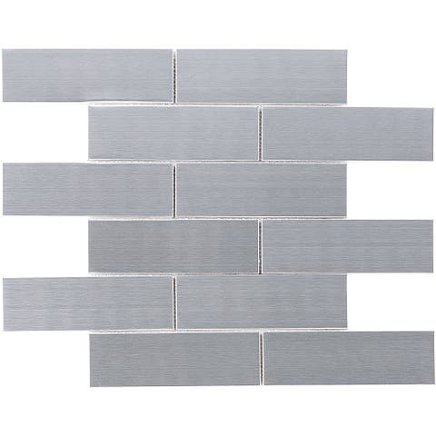 "TileGen. Brushed Subway 2""x6"" Metal Mosaic Tile in Silver Gray Wall Tile (10 sheets/9.7sqft.)"