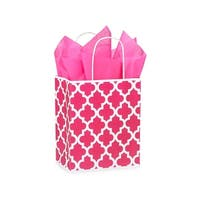 "Pack Of 250, Cub 8 X 4.75 X 10.25"" Hot Pink Geo Graphics Recycled Paper Shopping Bag W/White Paper Twist Handles Made In Usa"
