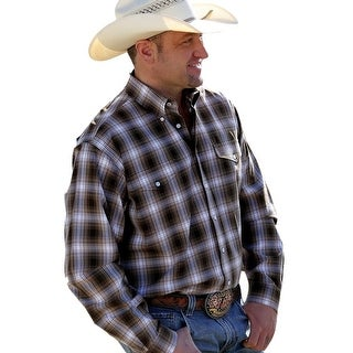 Cinch Western Shirt Mens L/S Necktape Pockets Flaps Brown MTW1107060 (Option: Xs)