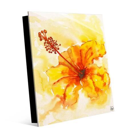 Kathy Ireland Yellow & Orange Hibiscus Abstract on Acrylic Wall Art Print