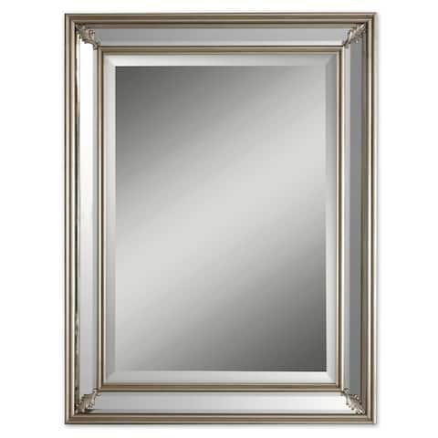 Antique Silver Rectangular Beveled Mirror