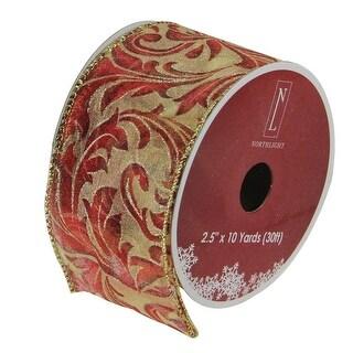 "Burgundy Red Scroll Print Gold Wired Mesh Christmas Craft Ribbon 2.5"" x 10 Yards"