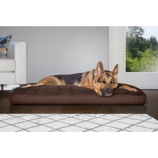 FurHaven Pet Bed | Snuggle Terry & Suede Deluxe Pillow Dog Bed