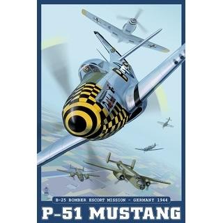 B-25 Bomber Escort Mission - P-51 Mustang - Lantern Press Artwork (Acrylic Wall Clock)