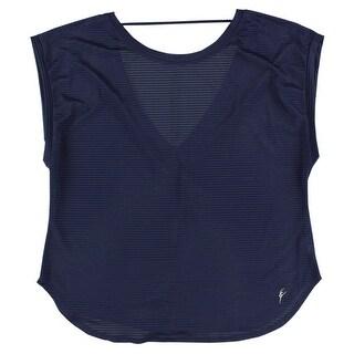 Capezio Womens Amandine Short Sleeve Shirt Navy - M