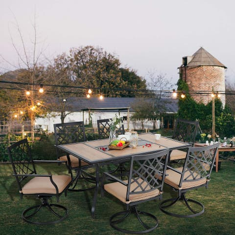 PHI VILLA Outdoor Patio Dining Set 7 Pieces Metal Furniture Set, 6 x Swivel Chairs with 1 Rectangular Umbrella Wood Like Table