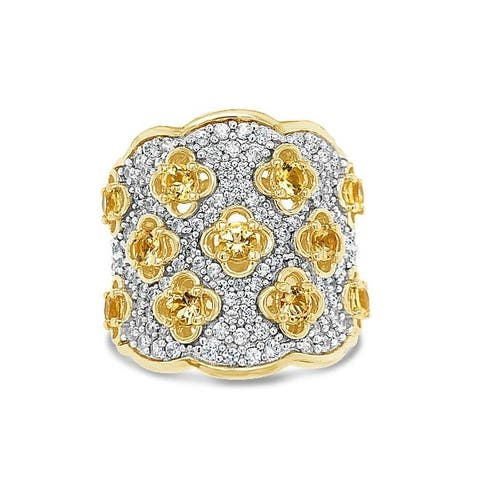 18K Yellow Gold Plated Sterling Silver 2 3/4 Carat Genuine Imperial Topaz & White Zircon Vintage Bypass Ring for Women (Size :5)
