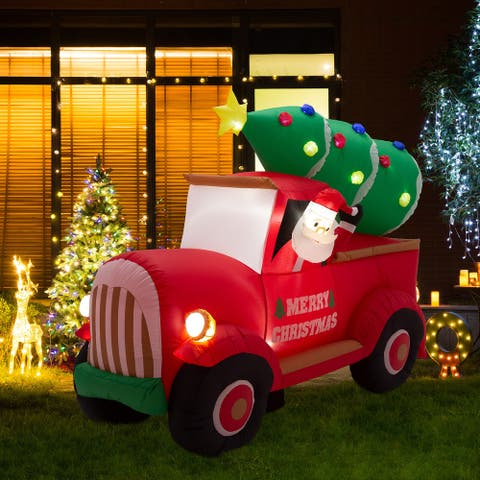 Glitzhome 7' Santa Claus On Pick Up Truck Inflatable Decor
