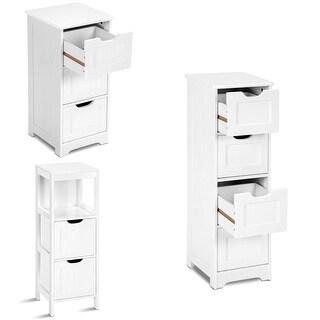 Costway White Floor Storage Cabinet Bathroom Organizer Free Standing 2/3/4 Drawers