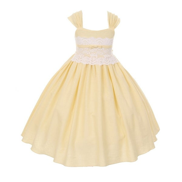 486a439f2d78 Shop Little Girls Yellow Linen Lace Waistline Flower Girl Easter Dress 2-6  - Free Shipping Today - Overstock - 18169820