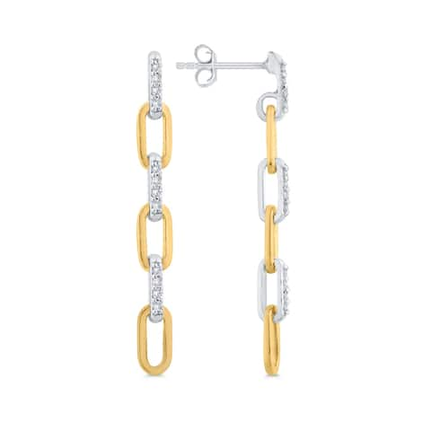 10K Two-Tone Gold 1/10 CT Diamond Interlocking Drop Earrings (I-J, I1)