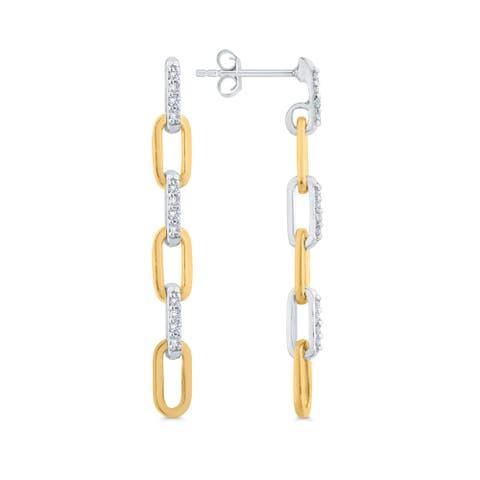 14K Two-Tone Gold 1/10 CT Diamond Interlocking Drop Earrings (I-J, I1)